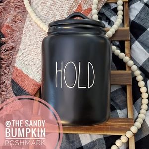 Rae Dunn HOLD Canister in Black